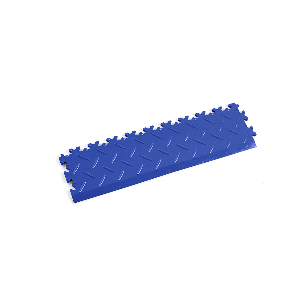 Modrá nájazdová rampa k podlahám Fortelock Industry a Light.