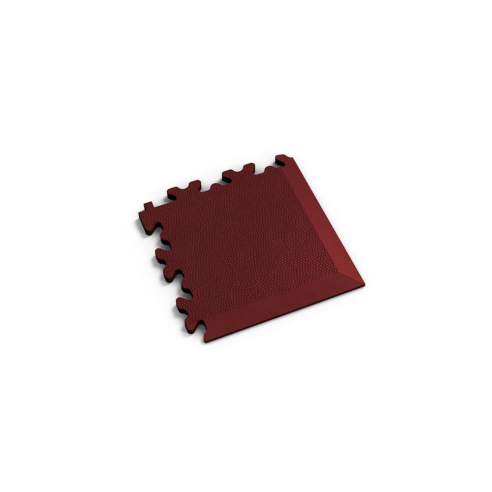 Tmavo červený nájazdový roh k podlahám Fortelock Industry a Light.